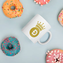 Load image into Gallery viewer, Dogecoin D Symbol With Crown, White Glossy Coffee Mug