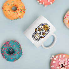 Load image into Gallery viewer, Mexican Style Death Skull, White Glossy Coffee Mug