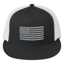 Load image into Gallery viewer, Gray US Flag 3D Puff, Classic Trucker Cap