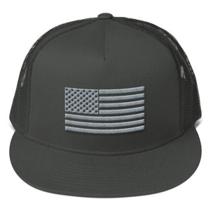 Gray US Flag 3D Puff, Flat Visor Mesh Back Snapback Hat Charcoal Gray