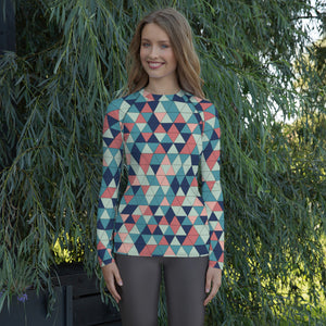 Multicolor Triangle Pattern, Women's Rash Guard