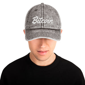 Bitcoin Text With Script Letters White, Vintage Cotton Dad Hat