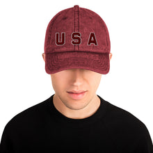Load image into Gallery viewer, USA Text, Embroidered Vintage Cotton Dad Hat