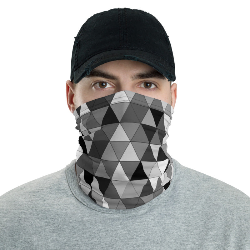 Gray Triangle Pattern, Neck Gaiter Face Mask Motorcycle Tube