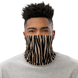 Zebra Pattern Khaki Neck Gaiter Motorcycle Tube