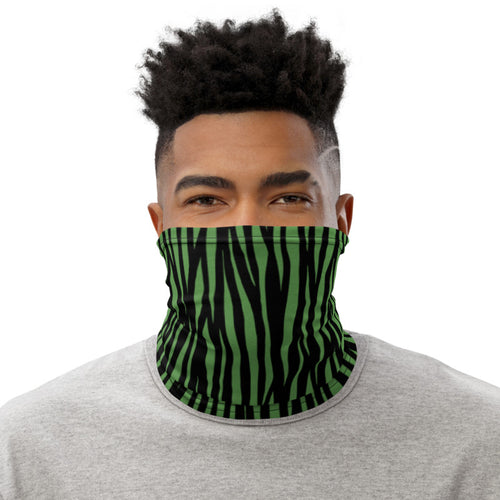 Zebra Pattern Green Neck Gaiter Motorcycle Tube