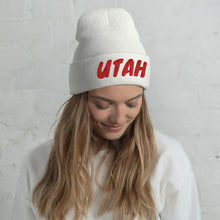 Load image into Gallery viewer, Utah Text Red, Unisex Cuffed Beanie