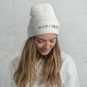On God I Trust Text Black, Unisex Cuffed Beanie