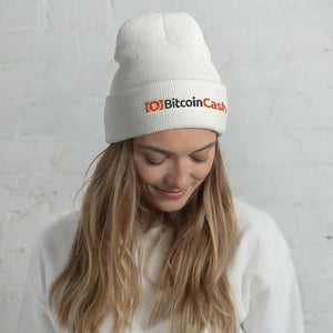Bitcoin Cash Cryptocurrency Logo and Text, Unisex Cuffed Beanie