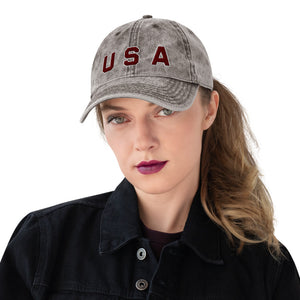 USA Text, Embroidered Vintage Cotton Dad Hat