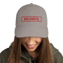 Load image into Gallery viewer, No Limits Sign Red, Dad Cap