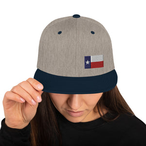 Texas Lone Star Flag Small Left Side, Embroidered Snapback Hat