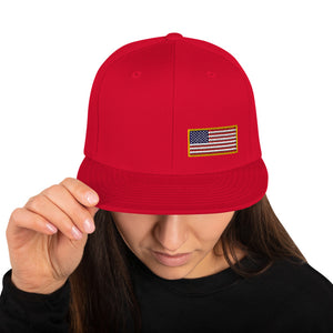 US Flag Small Left Side Embroidered Snapback Hat