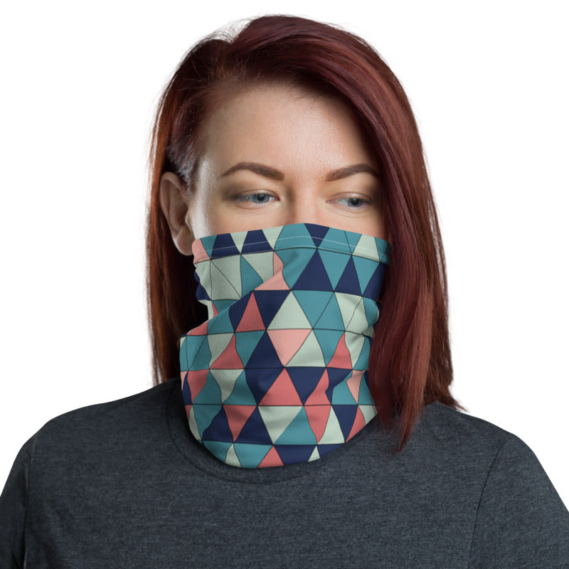Multicolor Triangle Pattern, Neck Gaiter Face Shield Motorcycle Tube