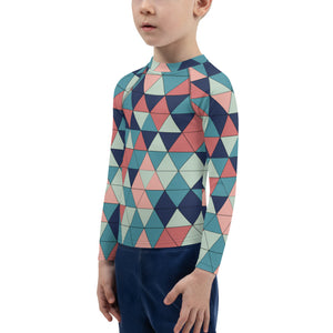 Multicolor Triangle Pattern, Kids Rash Guard