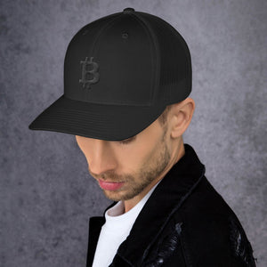 Bitcoin Cryptocurrency Logo Black, Retro Trucker Cap