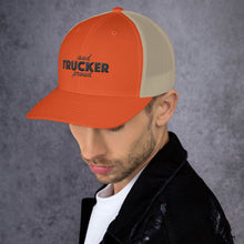 Load image into Gallery viewer, Trucker and Proud Text Black, Retro Trucker Cap