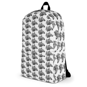 Betta Splendens Fighting Fish Pattern Backpack White