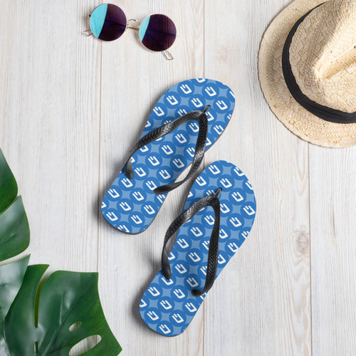 Dash Cryptocurrency Logo Pattern, Unisex Flip-Flops Blue