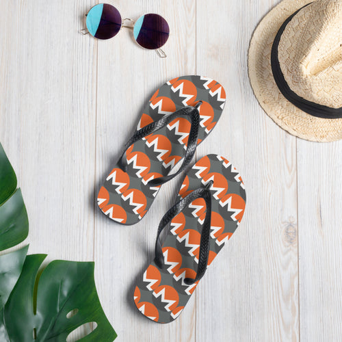 Monero Cryptocurrency Logo Pattern, Unisex Flip-Flops Grey