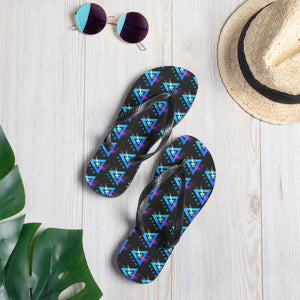 Beam Cryptocurrency Logo Pattern, Unisex Flip-Flops Black