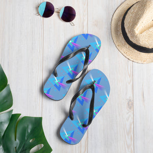 Beam Cryptocurrency Logo Pattern, Unisex Flip-Flops Blue