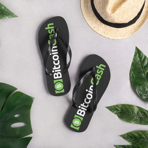 Bitcoin Cash Cryptocurrency Logo Green, Unisex Flip-Flops BLACK