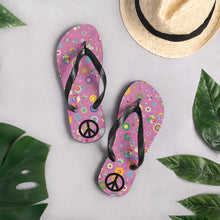Load image into Gallery viewer, Psychedelic Flowers Pattern With Peace Sign, Unisex Flip-Flops Pink