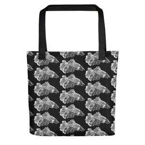Betta Splendens Fighting Fish Pattern, Tote Bag Black