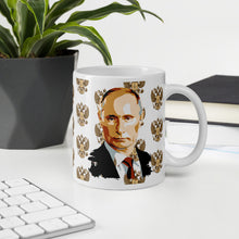 Load image into Gallery viewer, Vladimir Putin And Goat Of Arms Russia, White Glossy Coffee Mug
