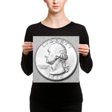 Load image into Gallery viewer, US Washington Quarter Dollar Coin Art Pencil Sketch Style, Canvas Wall Art