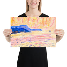 Load image into Gallery viewer, Blue Coast Painting Watercolor, Premium Luster Photo Paper Poster
