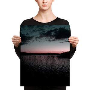 Lake at Summer Night Sunset, Canvas Wall Art