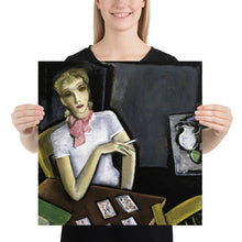 Load image into Gallery viewer, Smoking Woman Playing Cards, Premium Photo Paper Poster