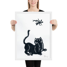 Load image into Gallery viewer, Cat and Dragonfly Paper Cutting, Framed Poster
