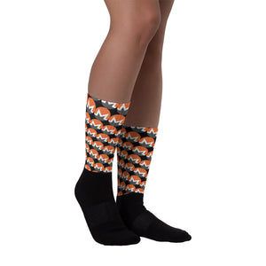 Monero Cryptocurrency Logo Pattern, Unisex Socks Black on model