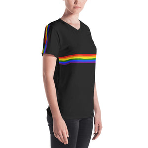 Pride Flag Colors Stripes, Women's V-neck T-shirt Black