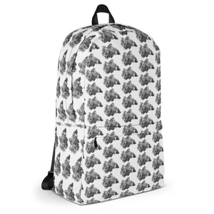 Betta Splendens Fighting Fish Pattern, Backpack White