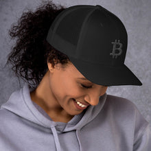 Load image into Gallery viewer, Bitcoin Cryptocurrency Logo Black, Retro Trucker Cap