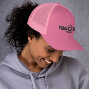 Trucker and Proud Text Black, Retro Trucker Cap