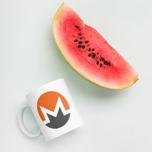 Monero Cryptocurrency Logo, White Glossy Coffee Mug
