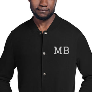 Design Your Own Initials or any Text, Men's Embroidered Champion Bomber Jacket