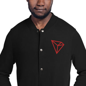 Tron TRX Cryptocurrency Logo, Men's Embroidered Champion Bomber Jacket Black