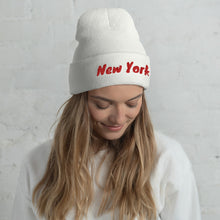 Load image into Gallery viewer, New York Text Red, Unisex Cuffed Beanie
