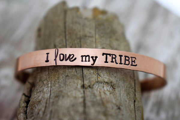 I Love My Tribe Hand Stamped Metal Cuff Bracelet Jewelry