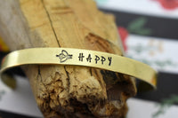 Bee Happy Hand Stamped Metal Cuff Bracelet Jewelry