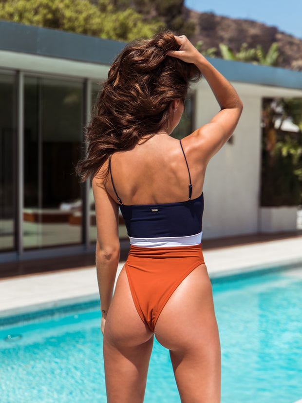 Adriana One Piece - Navy/White/Clay  - IMME swimwear