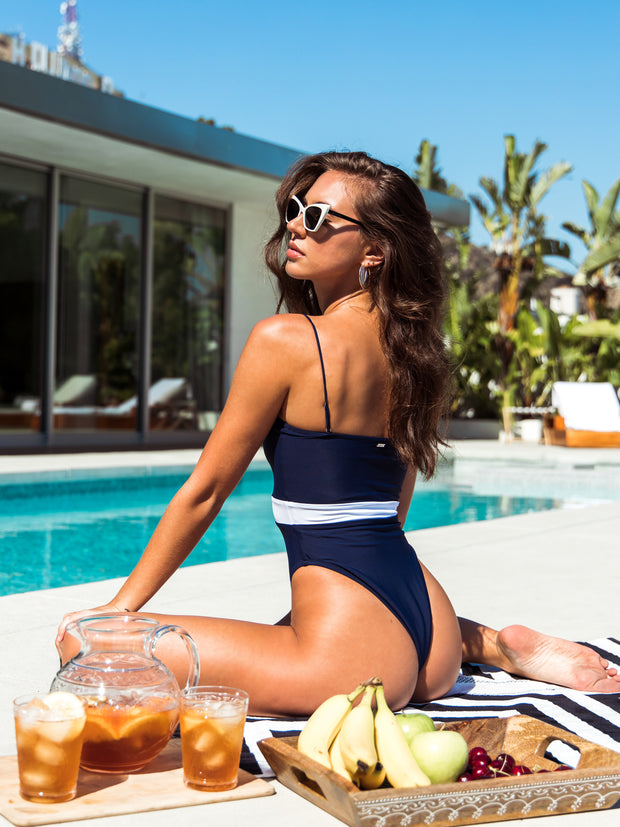Adriana One Piece - Navy/White  - IMME swimwear