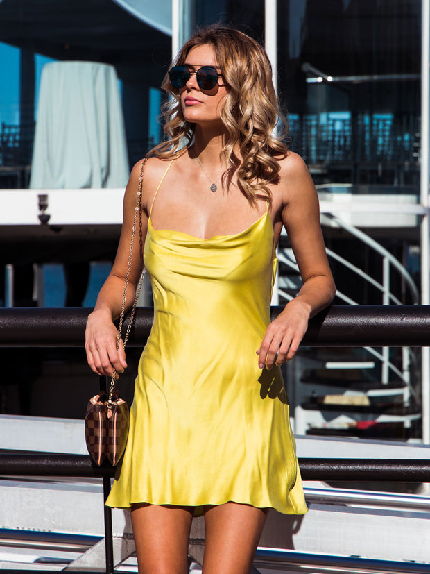 Iconic Silk Cowl Neck Slip Dress - Citron