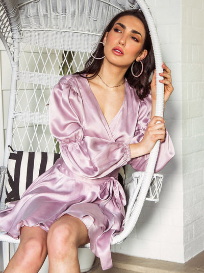 Rochelle Silk Wrap Dress - Lilac